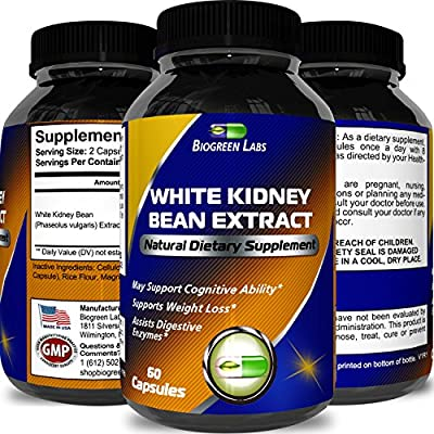 100% Pure White Kidney Bean Extract – Phase 2 Starch Neutralizer – Natural Carb Blocker & Appetite Suppressant – Supports Weight Loss & Helps Control Blood Sugar – 60 Capsules – By Biogreen Labs