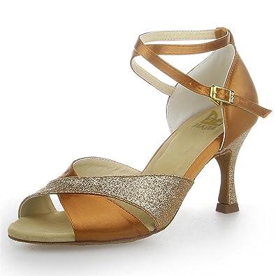 JIA JIA Y2051 Damen Sandalen Ausgestelltes Heel Super-Satin mit Funkelnden Glitter Latein Tanzschuhe