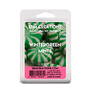 Wintergreen Mints - Scented All Natural Soy Wax Melts - 6 Cube Clamshell 3.2oz Highly Scented!