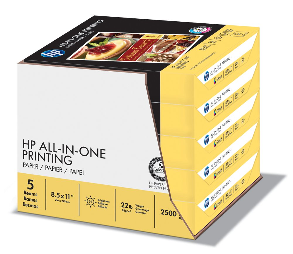 Color printing paper - Amazon Com Hp Paper All In One Printing Paper Poly Wrap 22 Lb 8 5 X 11 Letter 96 Bright 500 Sheets 1 Ream 207010 Made In The Usa Office Products