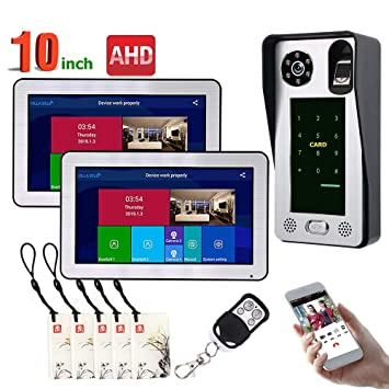 QSBY 10 Pulgadas 2 monitores cableados WiFi Fingerprint IC ...