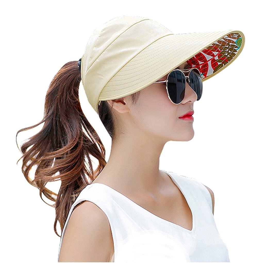 Wide Brim Sun Hats Summer Beach Visor Cap Anti-UV UPF 50+ Floppy Packable  Hat for Womens (Beige) at Amazon Women s Clothing store  d42da1fb5d7