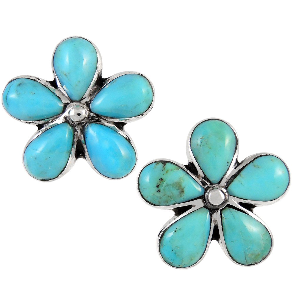 Turquoise Earrings 925 Sterling Silver & Genuine Turquoise (Flowers)