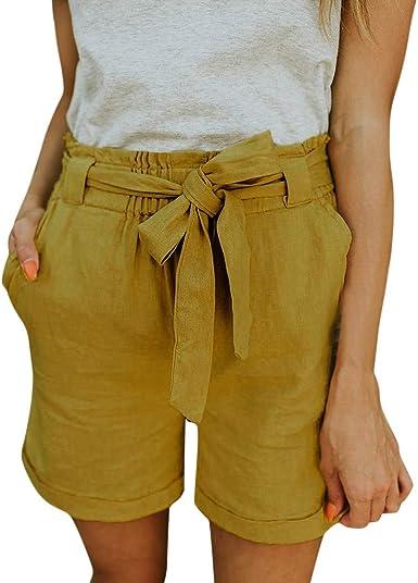 wyxhkj Mujer Pantalones Cortos Verano, Pantalones Algodón Y Lino Bolsillo Elástico Color Sólido Cinturon Cintura Media Sueltos Casual Vacacion Chicas: Amazon.es: Ropa y accesorios
