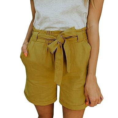 Rawdah_Pantalones cortos Mujer Verano Deporte Talla Grande Vestir Sexy Mujeres Casual Color sólido Algodón Lino Bolsillos Vendaje Elástico Cintura Pantalones Cortos Pantalones: Amazon.es: Ropa y accesorios
