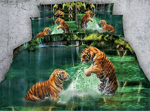 Jameswish 3D Swimming Tiger 4pc Bedding Sets Lake Background Microfiber Polyester Shrink Fade Resistant Washable Machine Including 1Duvet Cover 1Flat Sheet 2Pillowcases King Queen Full Twin Size