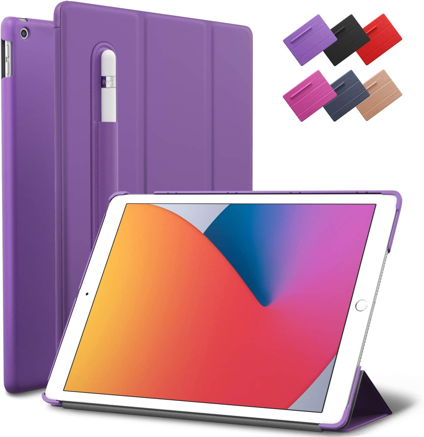 iPad 10.2-inch 2019 2020 Case, ROARTZ Purple Slim Smart Rubber Folio Hard Light Cover Wake Sleep Pencil Holder for 7th 8th Generation Latest Model A2197 A2198 A2200 A2270 A2428 A2429 A2430