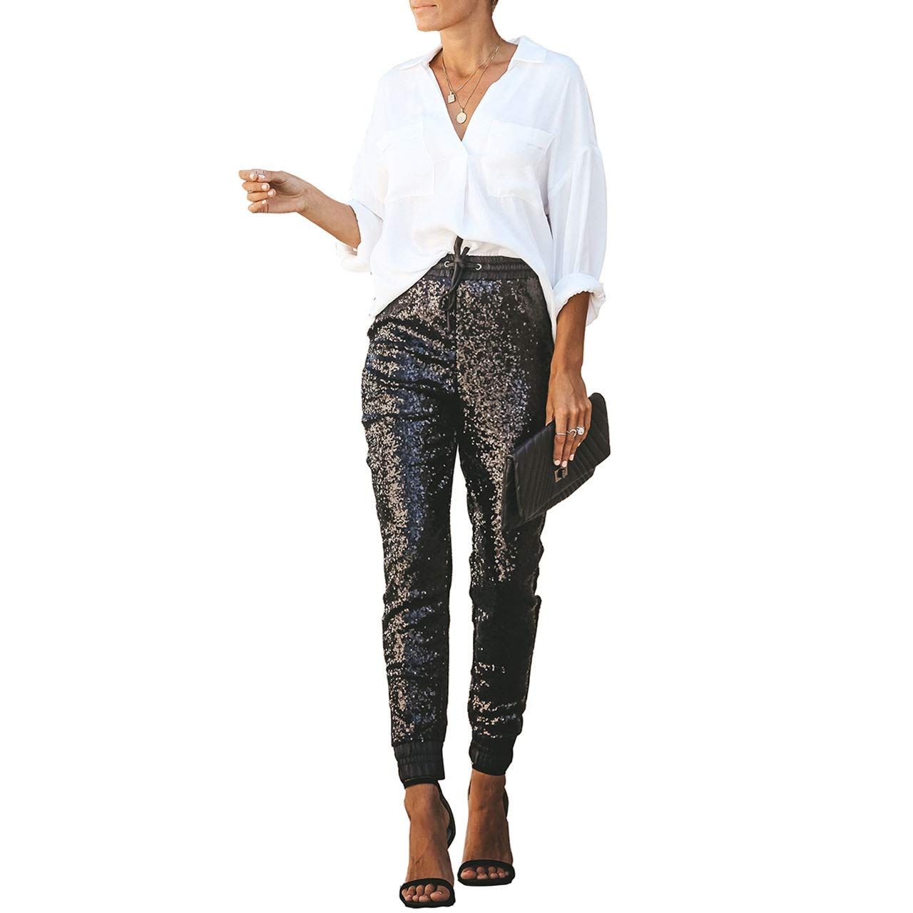 2dcabcaeeeb Salimdy Womens Fashion Sequin Pencil Pants with Drawstring Faux Leather  Patchwork Glitter Long Trousers at Amazon Women s Clothing store