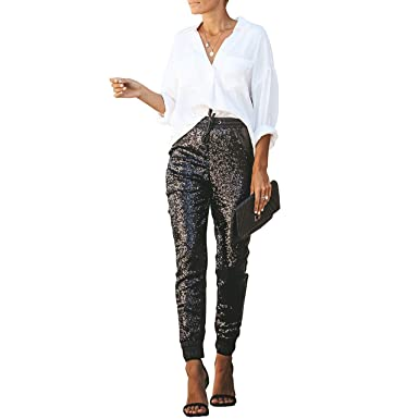 9ac2be2156b Salimdy Womens Fashion Sequin Pencil Pants with Drawstring Faux Leather  Patchwork Glitter Long Trousers S Black