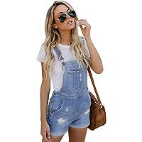 Fandecie Casual Jeans Peto para Mujer Summer Stretch Denim Algodón Corto Babero y Tirantes Overol