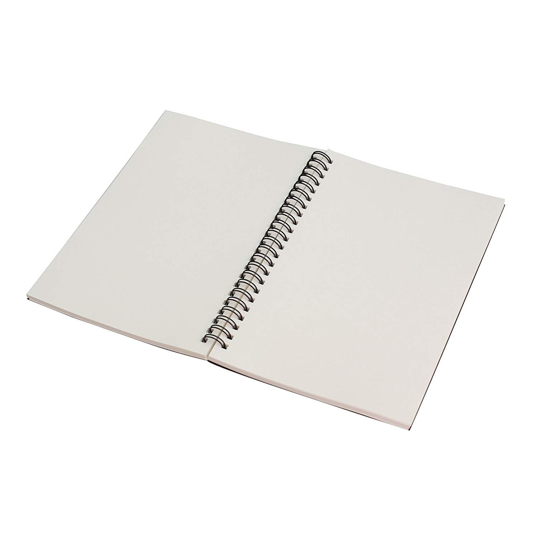 Taccuino formato B6 EUGU a spirale 180 x 120 mm 100 g//mq pagine interne bianche A5 50 fogli per libro 1black+1brown