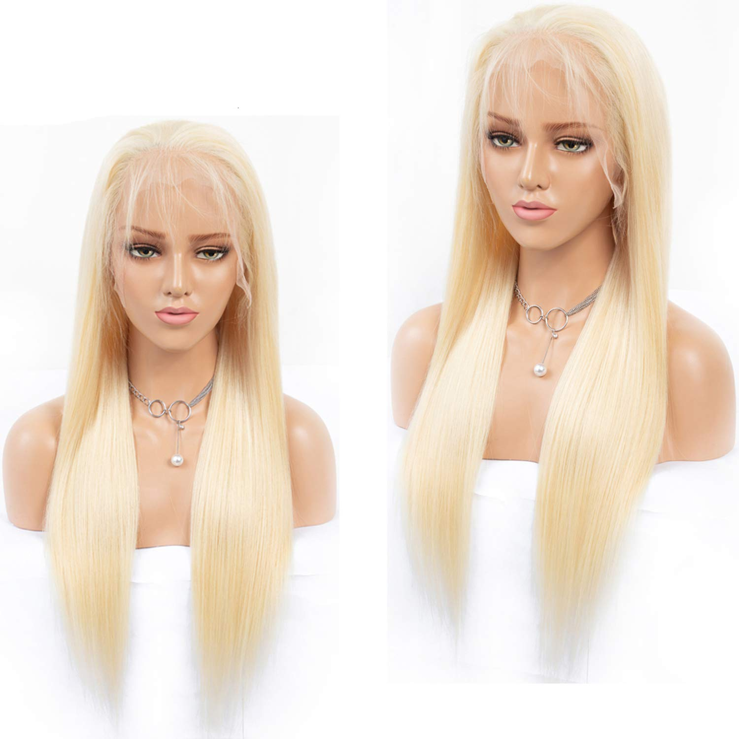 #613 Blonde Silk Base Wig With Transparent Lace Pre Plucked Straight Brazilian Full Lace Front Human Hair Wigs For Women,18inches,Lace Front Wig 61UZqaJk81L._SL1500_