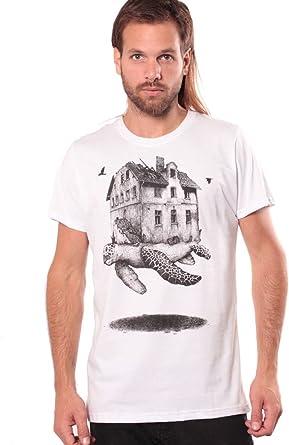 Camiseta Urbana Casa errante - Diseño gráfico con ilustración Original de Tortuga Marina para Hombre: Amazon.es: Ropa y accesorios