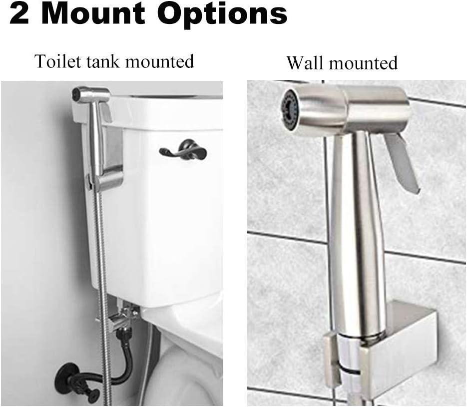 Orich Bidet manuel pulv/érisateur en acier inoxydable de qualit/é sup/érieure/ Argent/é. Acier inoxydable Ensemble complet de bidet pour toilettes Combination