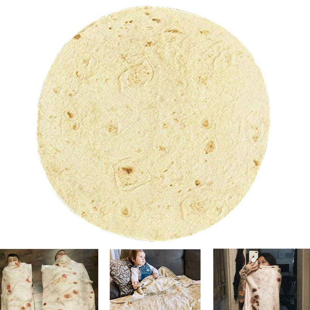 Confort Microfibre Tortilla Couverture G/éant Humain Burrito Parfaitement Rond Tortilla Jet Couverture Foonee Nouveaut/é Burrito Doudou 48 Pouces De Diam/ètre