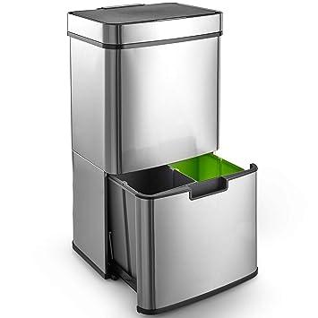Amazon.com: CAYNEL - Papelera con sensor de reciclaje para ...