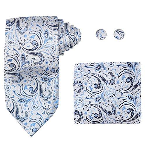 Y&G H6036 Blue Pattern Working Day Goods Silk Ties Cufflinks Hanky Birthday Gifts Set ()