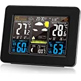 Protmex PT3365 Digital Color Forecast Weather Station with Alert and Temperature/Humidity/Barometer/Alarm/Moon Phase/Weather Clock with Outdoor Sensor