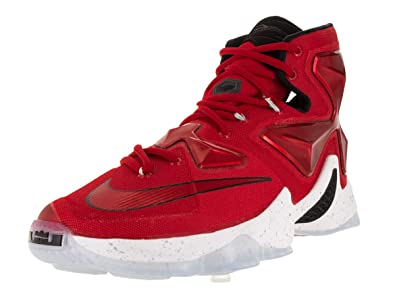 6bbfd9a959ca Image Unavailable. Image not available for. Color  Nike Men s Lebron XIII  Unvrsty Red White Blk Lsr Orng Basketball Shoe -