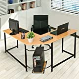 Tangkula Computer Desk L-Shaped Corner Writing Table Smooth Top Home Office Workstation Modern Study Laptop Desk with CPU Stand
