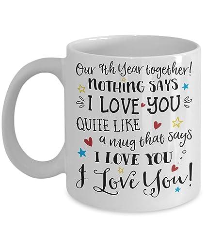 Amazon.com: 9th Wedding Anniversary Gift Mug - Funny I Love You Him ...