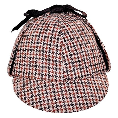 Sherlock Holmes Houndstooth Detective Costume Hat Red & (Sherlock Holmes Costume Robert Downey Jr)