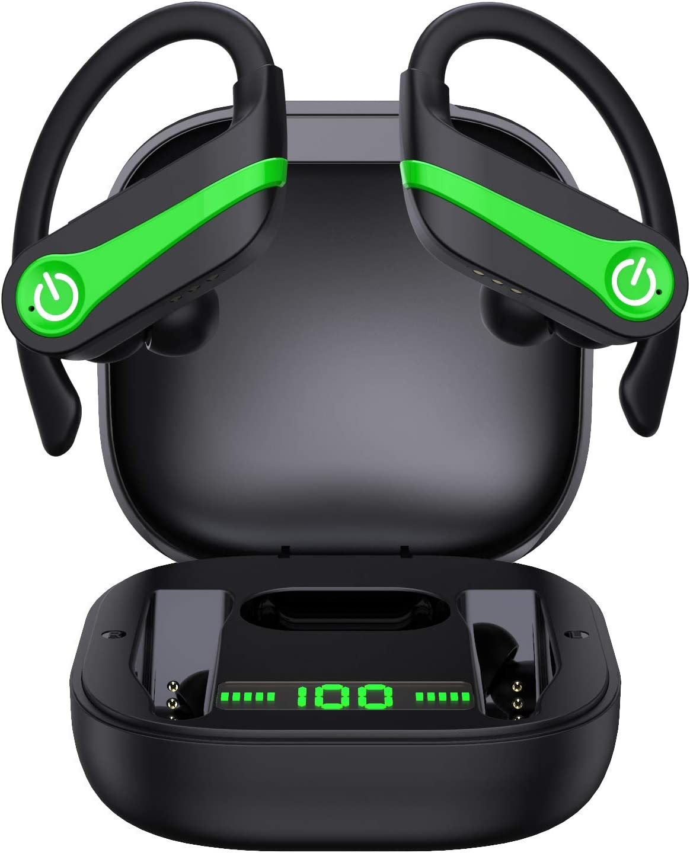 Auriculares Inalambricos Deportivos, LYCHL Auriculares Bluetooth 5.1 IP7 Impermeable Running Auriculares, Cascos Inhalabricos Correr con Micrófono Caja de Carga, Cancelación de Ruido Gimnasio, Viajes