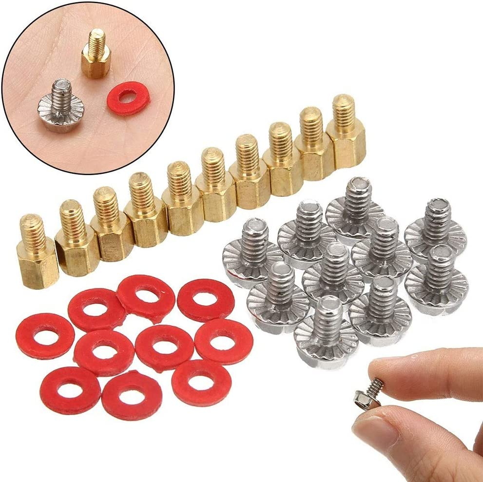 BTCS-X 10Pcs Chassis Screws Motherboard Riser Washers Standard Flat Head Brass Phillips Head for Case Fans with 6.5mm Screw Hole Standoff