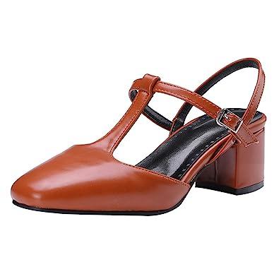 73756a83bf80e5 UH Damen Chunky Heels Sandalen Vorne Geschlossen T Strap Slingback Pumps  Fashion Sommer Schuhe - china-express-sn.de