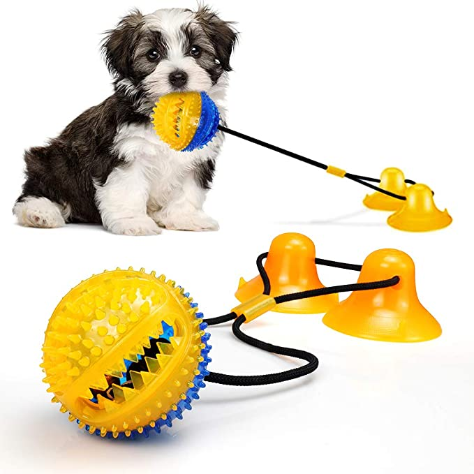 Kitchen & Dining : Dog Chew Toys for Aggressive Chewers, Rope Toys with 2 Suction Cup for Puppies Teething, Boredom, Tug of War, Slow Feeding, Teeth Cleaning and Training Ball Toy (Yellow) : Amazon.com