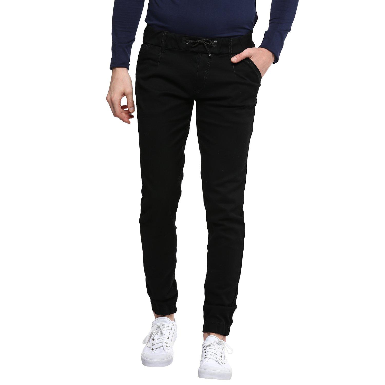 Urbano Fashion Men's Black Slim Fit Stretch Jogger Jeans