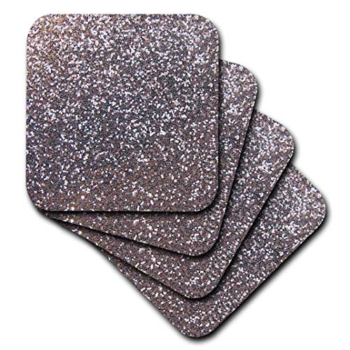 3dRose CST_112929_1 Silver Faux Glitter Photo of Glittery Texture Metallic Sparkly Bling Diva Glam Sequins Glamor Soft Coasters, Set of 4