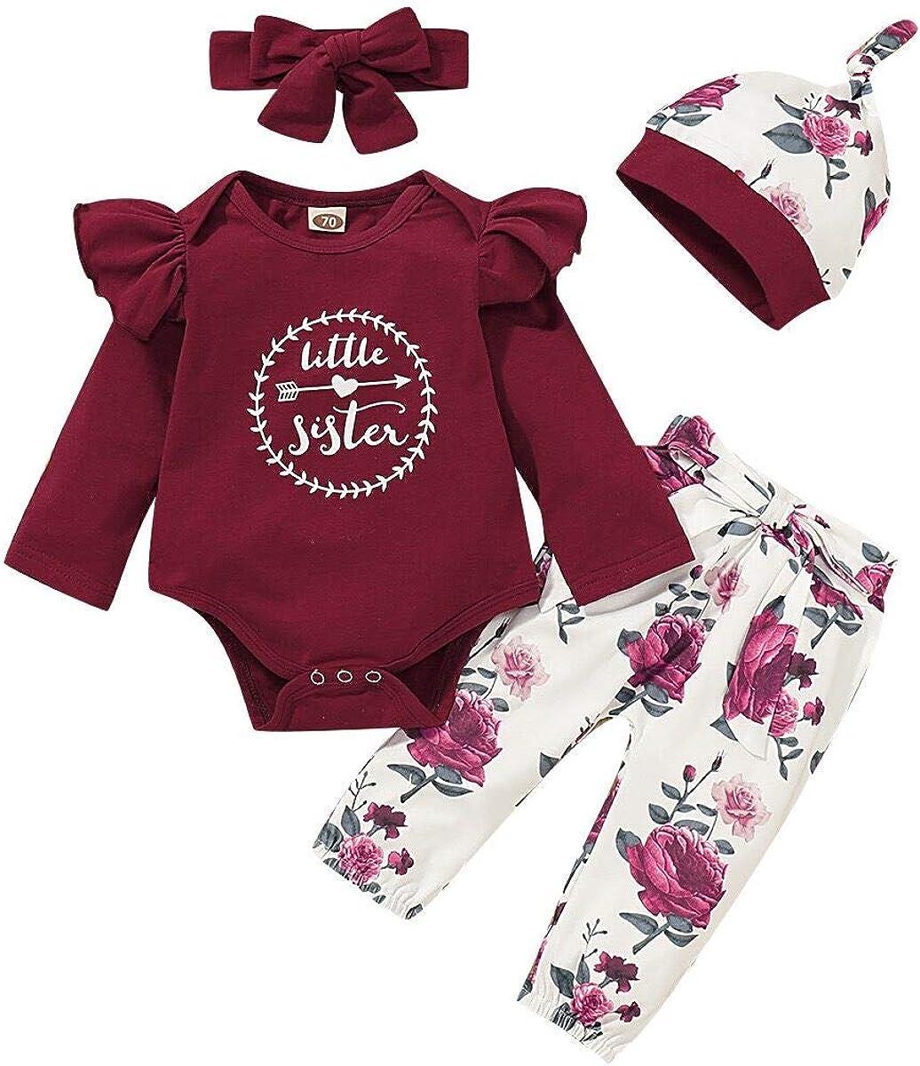 Hut Bogen Stirnband Kleidung Sets Outfits Geschenke T TALENTBABY Neugeborenes Kleinkind Kleinkind Baby M/ädchen R/üschen Schulter Top Floral Pants