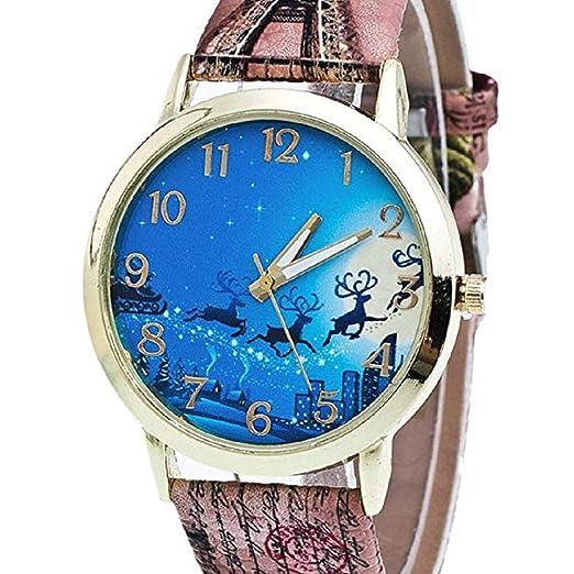 Scpink Mujeres Elk Patrón de Navidad Analog Ladies Relojes de Pulsera Relojes de niña Relojes Femeninos