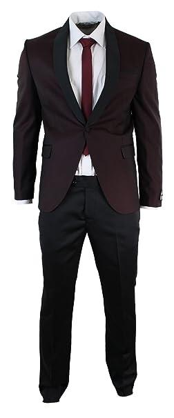 791d4bc2dd4 wesen Mens Slim Fit Wine Maroon Black Tuxedo Suit Shawl Collar Burgundy   Amazon.ca  Clothing   Accessories