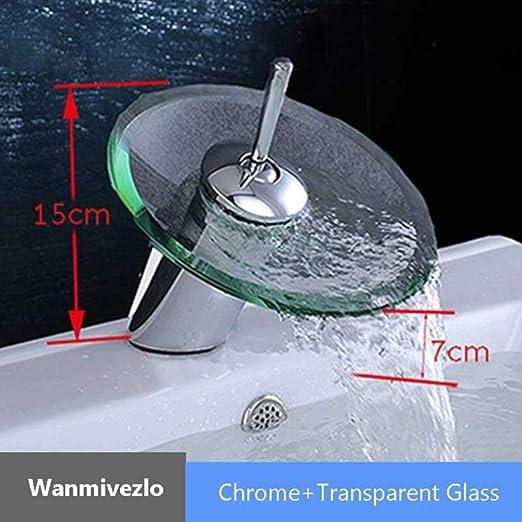 1 LINZX Vasque en Verre color/é Cascade lavabo lavabo chrom/é Robinet /évier lavabo /à Levier Unique mont/é sur mitigeur Rond