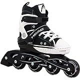 Head Cool Patins à roulettes en ligne pour enfant avec roulement à billes Abec 5 et ajustables sur 4 pointures Pour le sport et les loisirs Noir/blanc