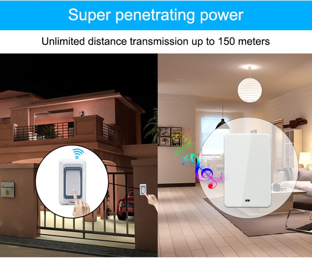 MIAO@LONG Wireless Door Bell With 28 Chimes 4-Level Adjustable Volume Work Over Range 492-Feet(150M) With LED Light Of Receiver,White by MIAO@LONG (Image #4)