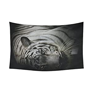 Unique Debora Custom Wall Tapestry White Tiger 60x51 Inch Cotton Linen Tapestry Wall Hanging Art 60WD98