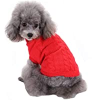 Dog Sweater Pet Clothes Dog Cat Girl Boy Fall Winter Outfits Apparel Pullovers Knitwear for Bichon Chihuahua Small Dogs Cats(M Red)