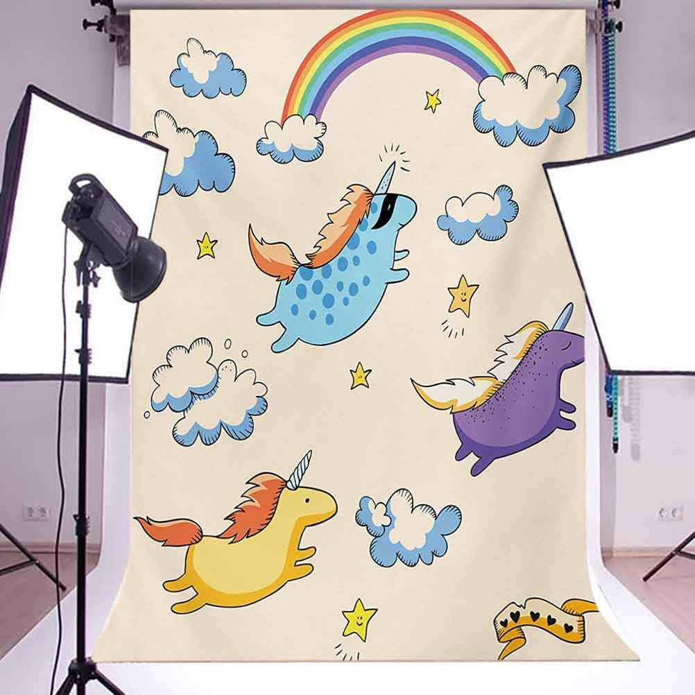 6.5x10 FT Photography Backdrop Pastel Colored Illustration of Several Flying Pony Baby Unicorns in The Air Artwork Background for Child Baby Shower Photo Vinyl Studio Prop Photobooth Photoshoot