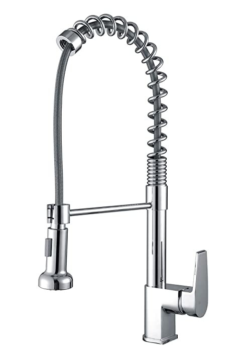 Ruvati RVF1216CH Commercial Style Pullout Spray Kitchen Faucet, Polished  Chrome