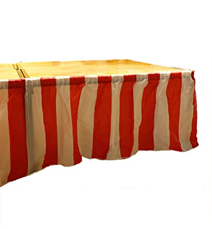 7707bcb43 Image Unavailable. Image not available for. Color: oocc Carnival Themed  Party Decoration Red & White Striped Plastic Pleated Table Skirt ...
