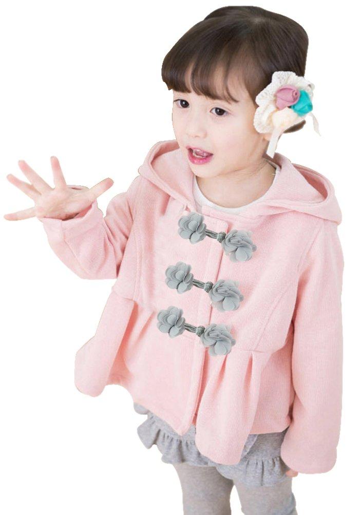 Little Girls Hooded Flower Clasp Buttons Dress Coats Pink