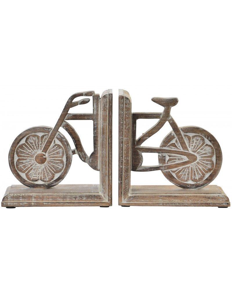 Sujetalibros de Madera Natural con Bicicleta para estantería 2 Unidades - Diseño Original 15 x 30 cm- Hogar y más Hogar y Mas