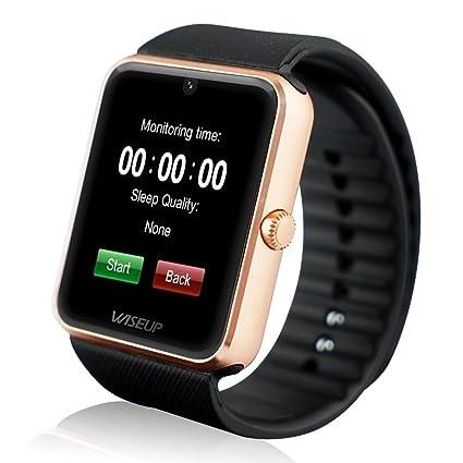 WISEUP GT08 Bluetooth Smartwatches Comunicación Móvil con Tarjeta SIM GSM GPRS para Android Samsung HTC (Dorado)