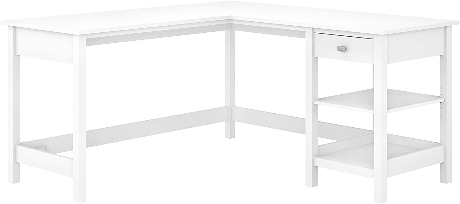 Bush Furniture Broadview L Shaped Computer Desk with Storage, 60W, Pure White