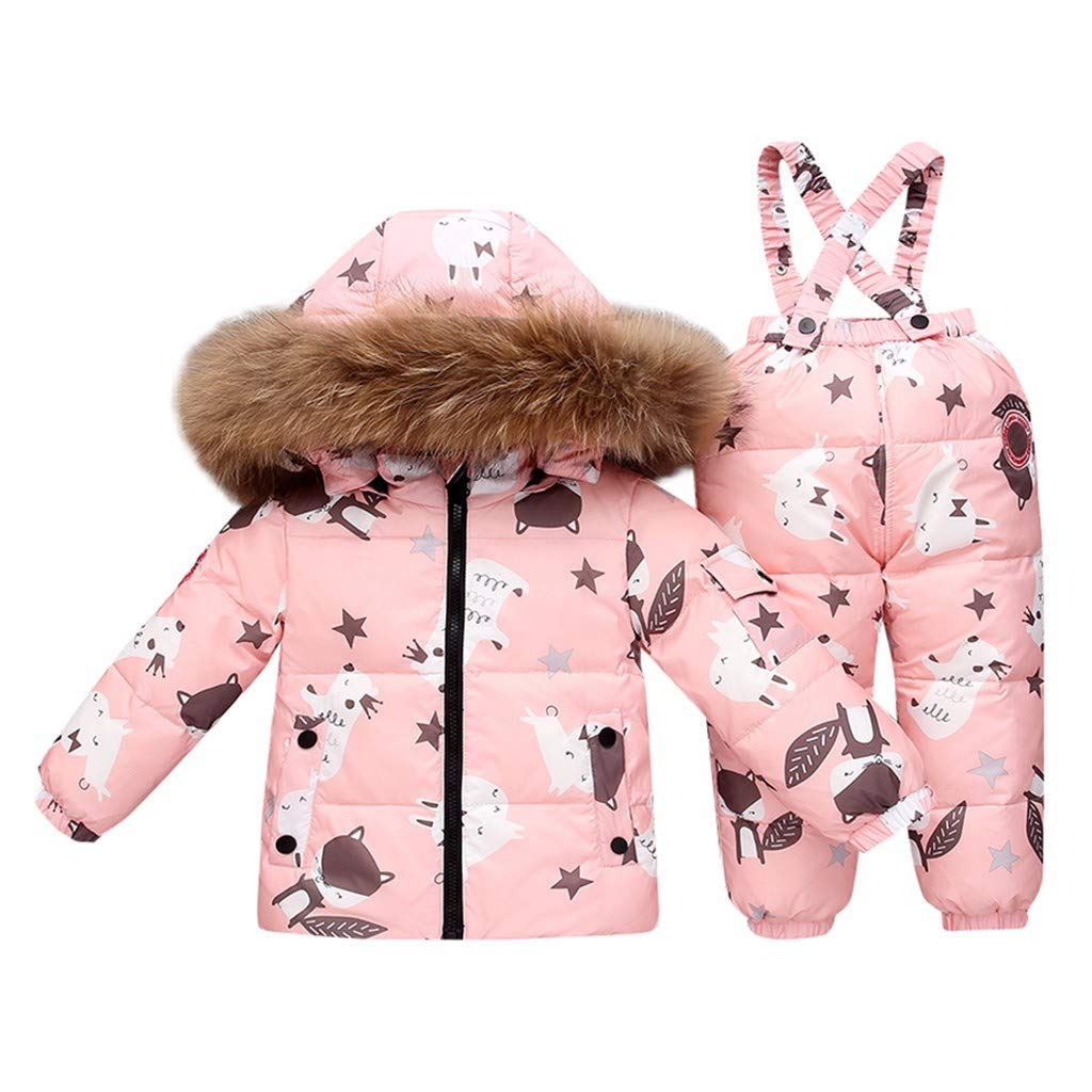 KONFA Sweet Fur Collar Hooded Down Jacket+Pants Fall Winter Warm 2Pcs Quilted Coat Outfits Children Clothes for 2-5T Little Kids Toddler Baby Boys Girls (Pink, 2-3 Years Old) by KONFA