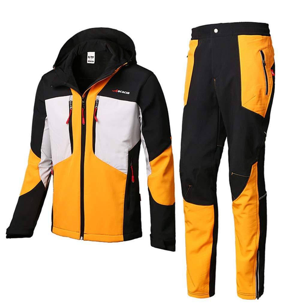 男性のためのレインスーツ再使用可能なレインウェア(レインジャケットとレインパンツセット)大人の防水防風防風フード付き屋外作業バイクゴルフフィッシングハイキング (サイズ さいず : L l) B07CWQHR4V