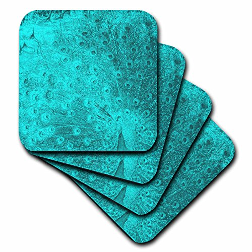 3dRose cst 26164 4 Turquoise Peacock Coasters